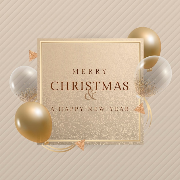 Merry christmas and a happy new year greeting card with gold balloons Free Vector