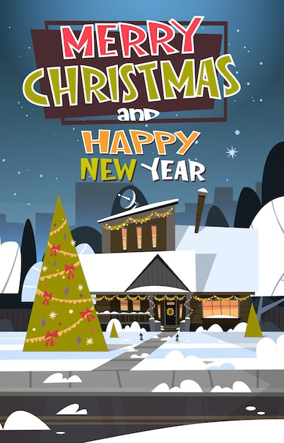 Merry christmas and happy new year greeting card with ...
