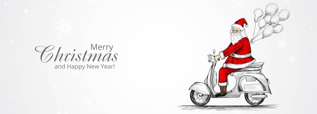 Merry christmas and happy new year greeting card with hand drawn santa claus on riding a scooter Free Vector