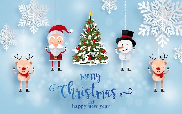 Buon natale e felice anno nuovo biglietto di auguri con personaggi felici. babbo natale, pupazzo di neve e renne Vettore gratuito