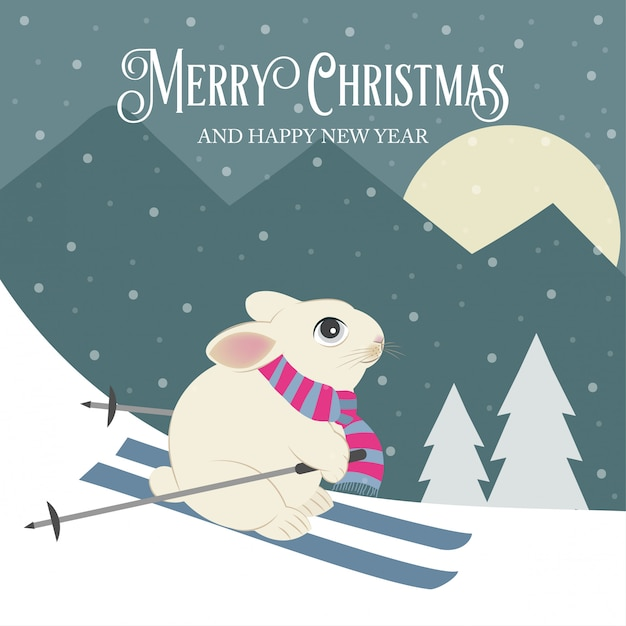 Merry christmas and happy new year greeting card with rabbit skier. flat design. Premium Vector