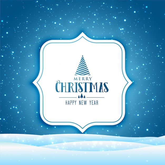 Merry christmas and happy new year greeting card with winter scene with falling snow Free Vector