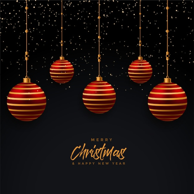 Merry christmas and happy new year greeting card Free Vector