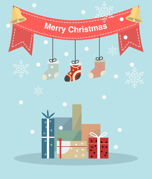 Merry christmas and happy new year greeting card Premium Vector