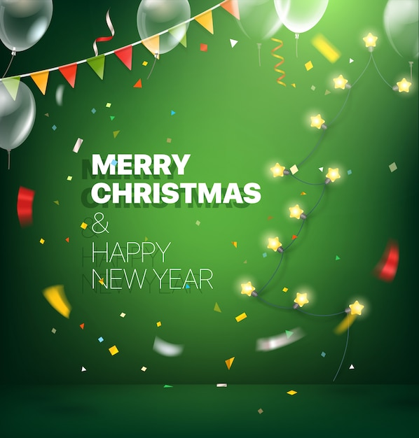 Merry christmas and happy new year greeting card. Premium Vector