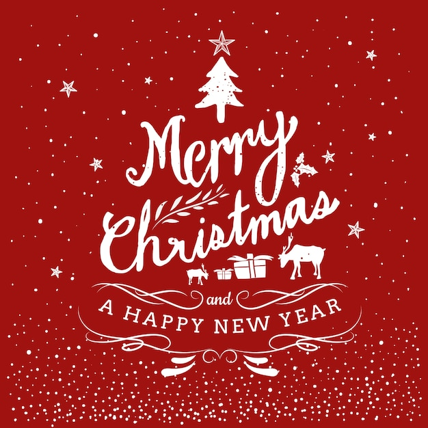 Merry christmas and happy new year hand drawn Premium Vector