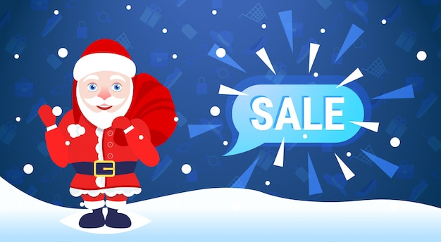 Merry christmas happy new year holiday big sale  santa claus hold sack chat bubble special offer promotion flat Premium Vector