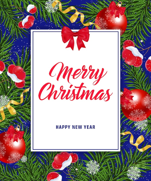 Merry Christmas Happy New Year lettering Vector | Free Download
