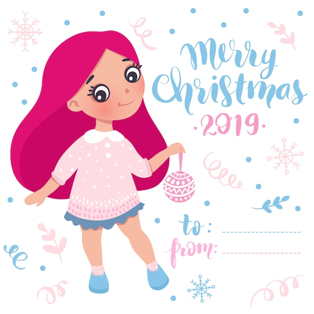 Merry christmas and happy new year little girl card Premium Vector