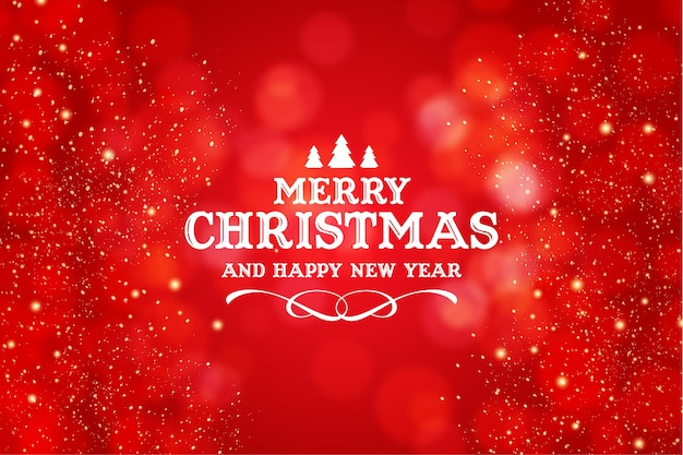 Merry christmas and happy new year logo with realistic christmas red bokeh background Free Vector