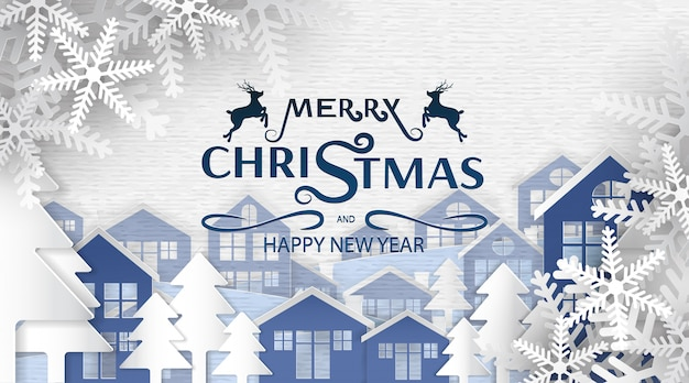 Merry christmas and happy new year, paper art , advertising with winter composition in paper cut style background, Premium Vector