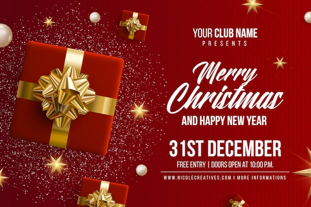 Merry Christmas Happy New Year Party Invitation Card