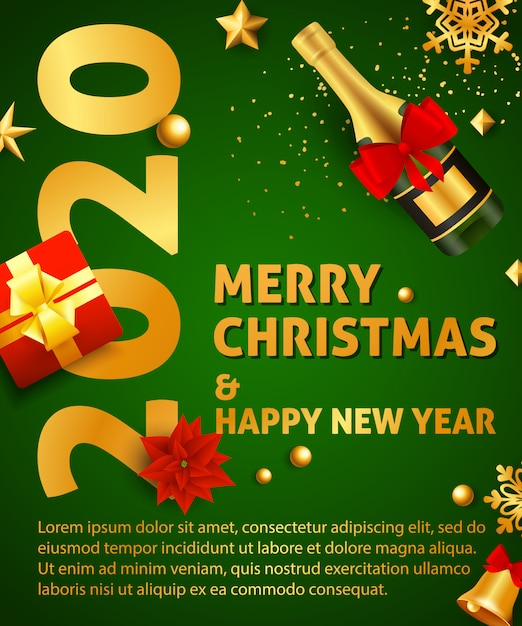 Merry christmas and happy new year party poster Free Vector