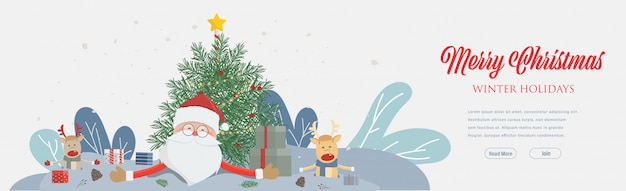 Merry christmas and happy new year party and wearing santa claus hat. web landing page template for winter holidays. Premium Vector