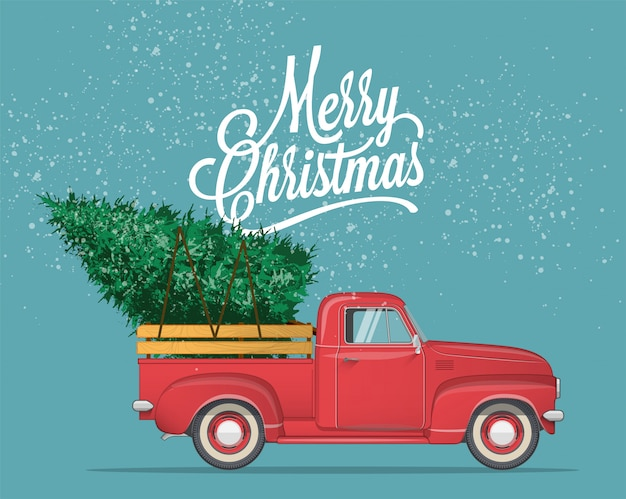 Merry christmas and happy new year postcard Premium Vector