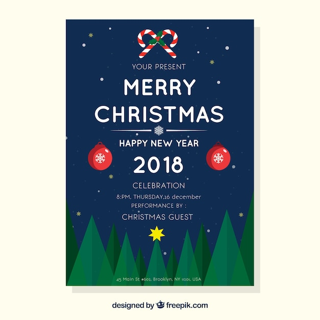 Merry Christmas Poster 2018.Merry Christmas And A Happy New Year Poster Vector Free