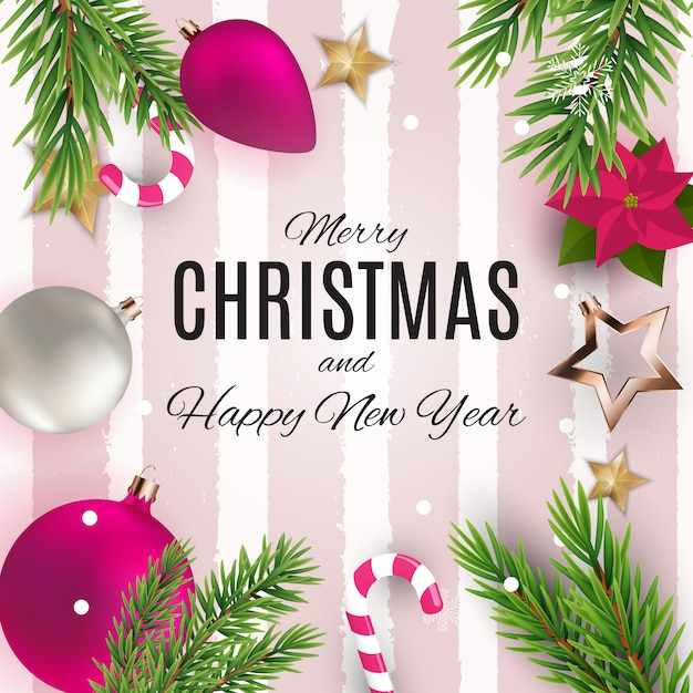 Merry christmas and happy new year posters. Premium Vector