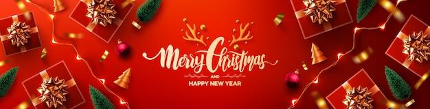 С рождеством и новым годом рекламный плакат или баннер с красной подарочной коробкой Premium векторы