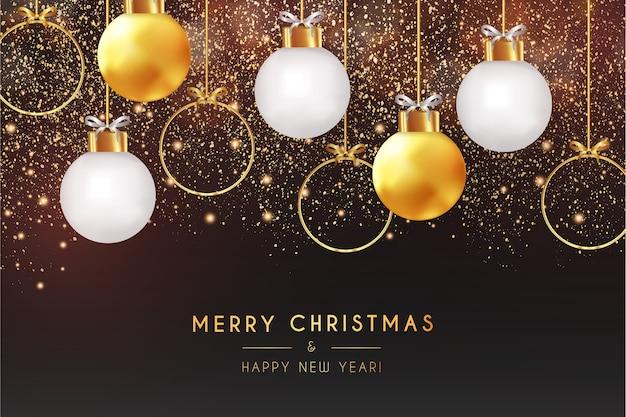 Carta realistica di buon natale e felice anno nuovo con sfondo bokeh Vettore gratuito