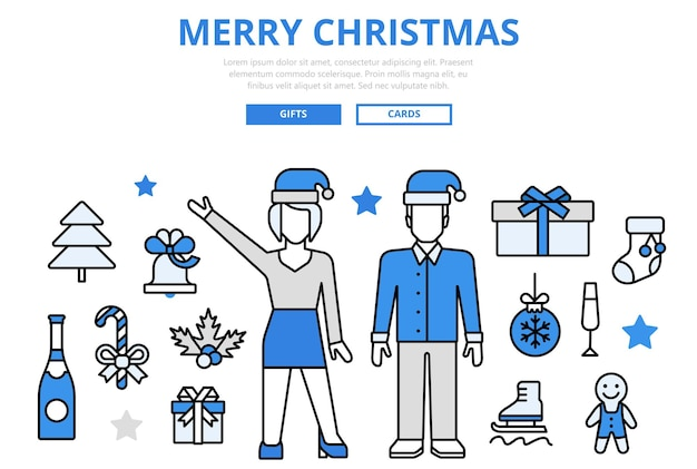 Merry christmas happy new year sale gift celebration winter holiday concept flat line art  icons. Free Vector