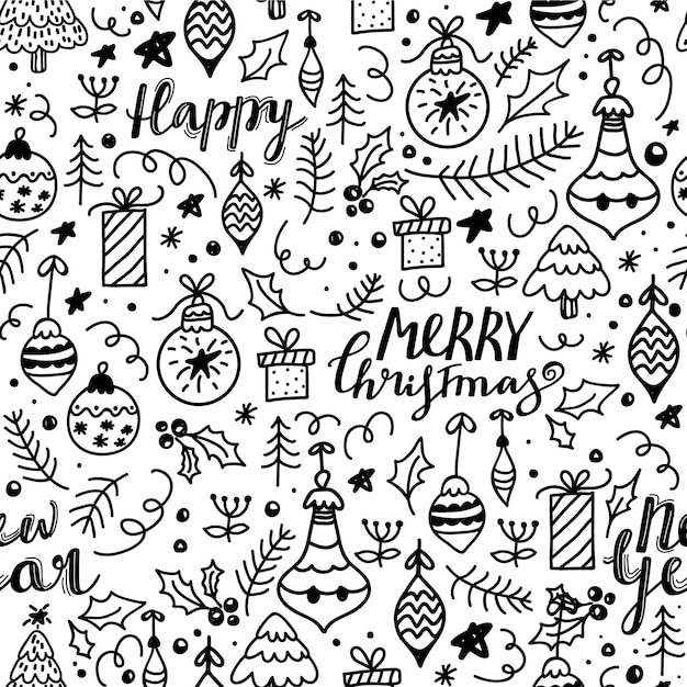 Merry christmas and happy new year seamless pattern. Premium Vector