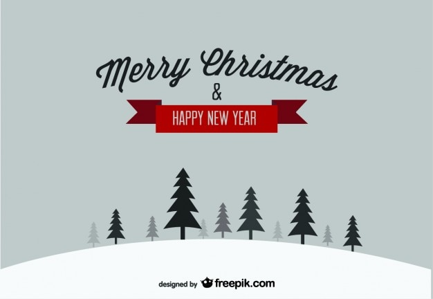 Merry Christmas & Happy New Year snow postcard Free Vector