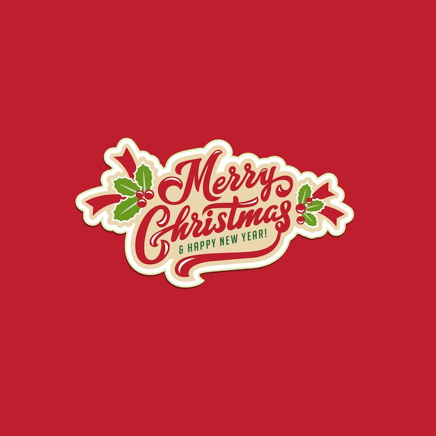 Merry christmas and happy new year text calligraphic lettering greeting card Premium Vector