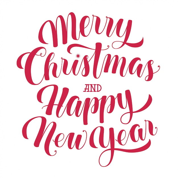 Merry christmas and happy new year text Premium Vector