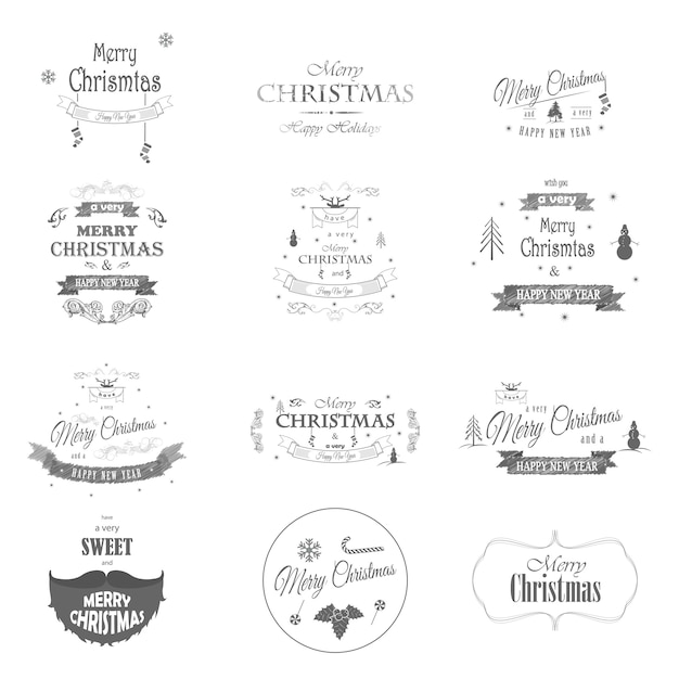 Merry christmas and happy new year typography collection. Premium Vector