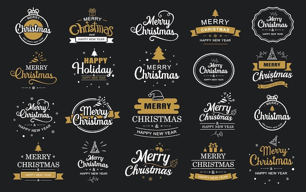 Merry christmas and happy new year typography label with symbols design set use for sticker badge crafts greeting card Premium Vector