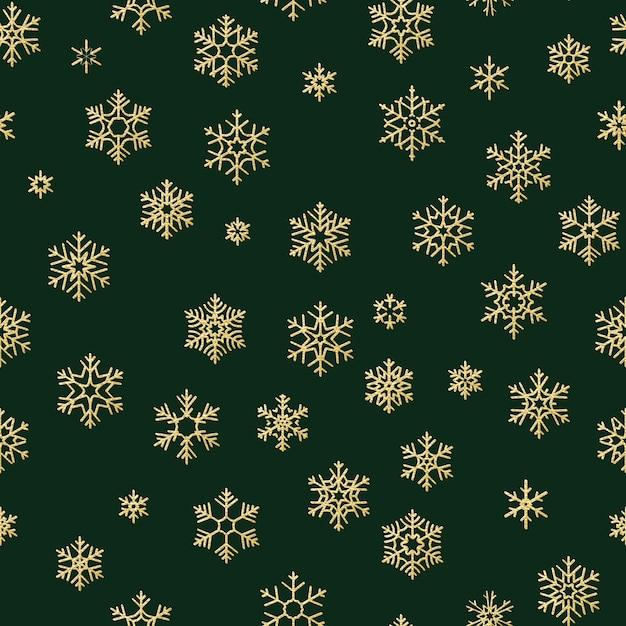 Merry christmas and happy new year winter golden snowflakes seamless pattern. Premium Vector