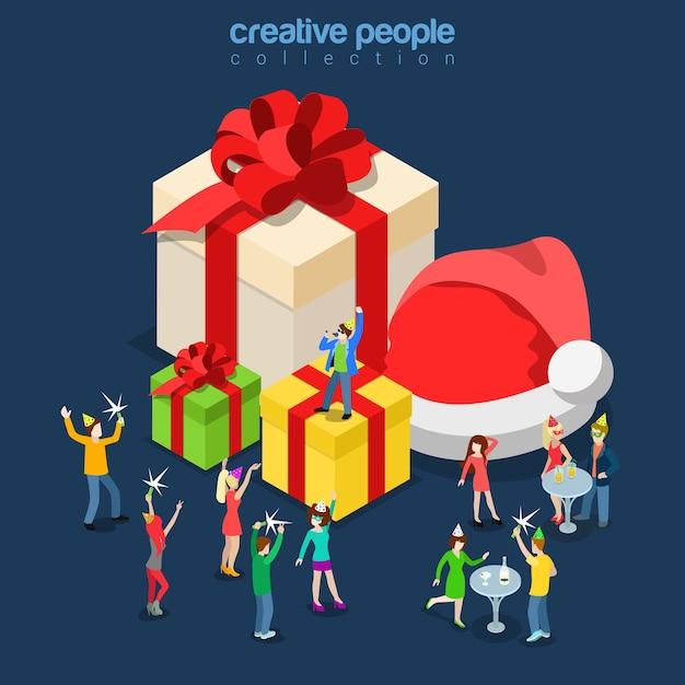 메리 크리스마스 해피 뉴가 어 겨울 휴가 파티 평면 아이 소메 트리 아이소 메트릭 개념 웹 infographics 전단지 카드 엽서 서식 파일 거 대 한 산타 모자 선물 상자 마이크로 사람들이 가수 댄스 노래 무료 벡터