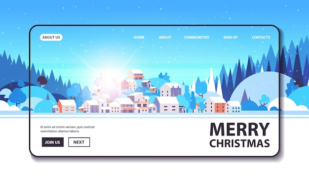 メリークリスマス新年あけましておめでとうございます冬休みお祝いコンセプトグリーティングカード風景背景水平コピースペースベクトルイラスト Premiumベクター