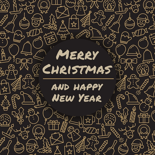 Merry christmas and happy new year. winter holidays greeting card. merry christmas typography and calligraphy. xmas icons. Free Vector