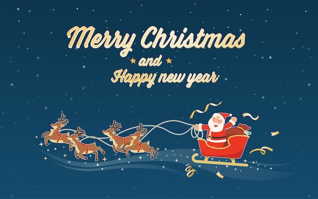Merry christmas and happy new year with santa claus sleigh Free Vector