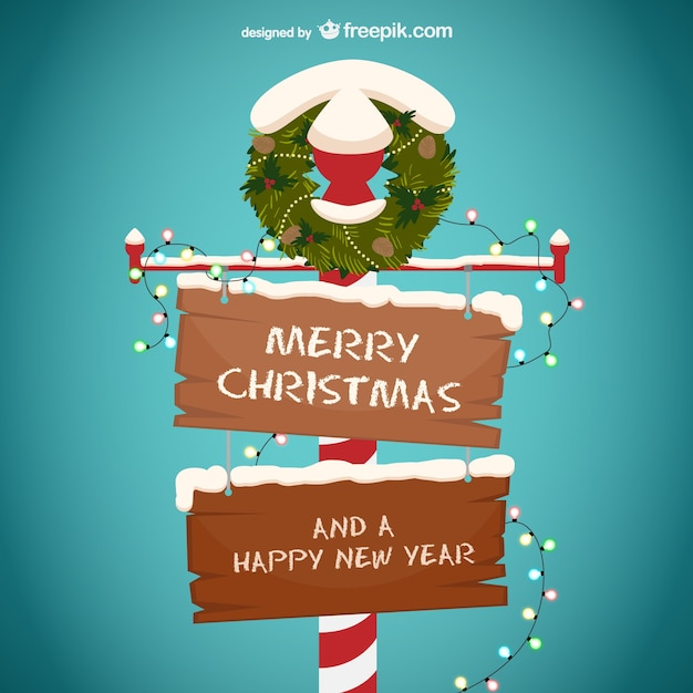 free vector merry christmas and happy new year wooden sign merry christmas and happy new year