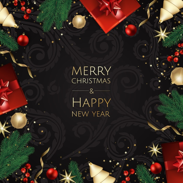 Merry christmas and happy new year, xmas background with gift box, snowflakes and balls design, Premium Vector