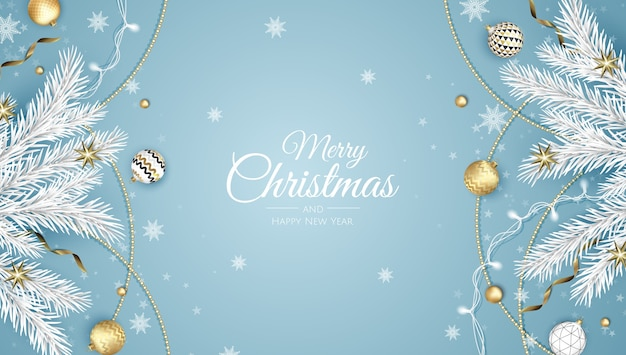 Merry christmas and happy new year. xmas background with poinsettia, snowflakes, star and balls . greeting card, holiday banner, web poster Premium Vector