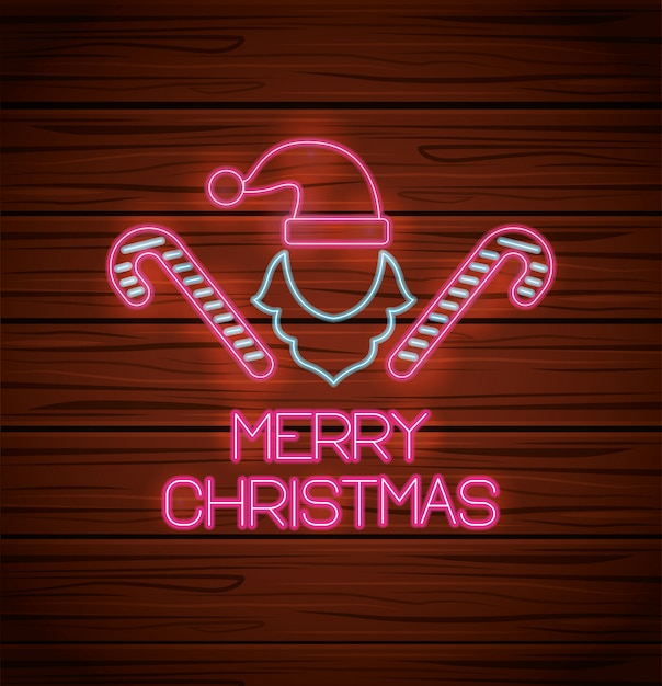Merry christmas hat and canes with neon lights greeting card Premium Vector