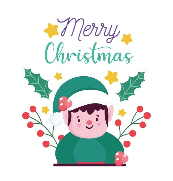 Premium Vector Merry Christmas Helper Cartoon Holly Berry Card For Greeting Vector Illustration