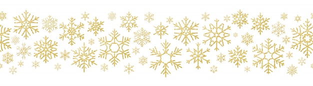 Merry christmas holiday decoration effect. golden snowflake seamless pattern. Premium Vector