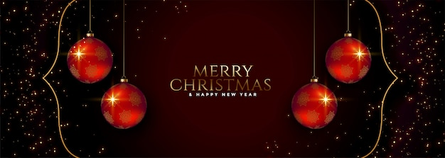 Merry christmas holiday festival banner with red balls Free Vector