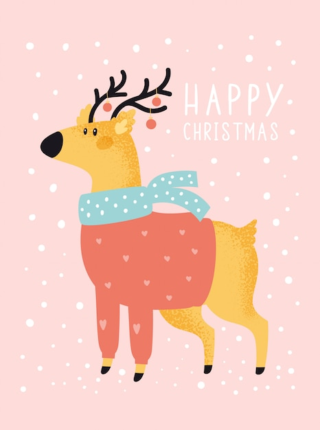 Merry christmas holiday festive illustration with deer in flat cartoon style for greeting card, poster, print Premium Vector