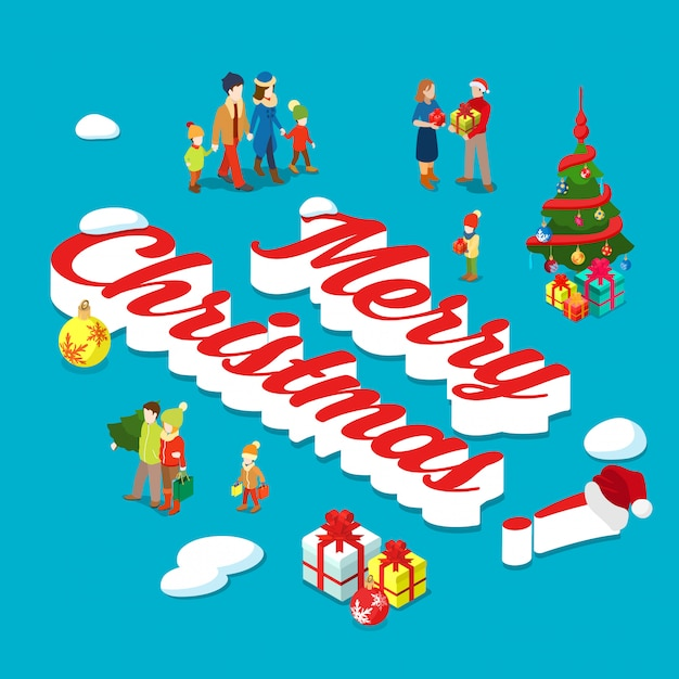 Merry christmas holiday isometric concept vector illustration. Free Vector