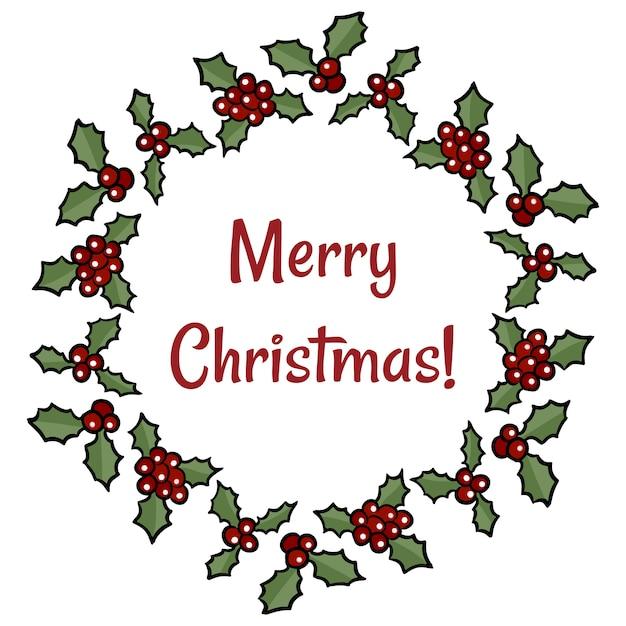 Christmas Holly Cartoon.Merry Christmas Holly Berry Wreath Greeting Cartoon Holiday