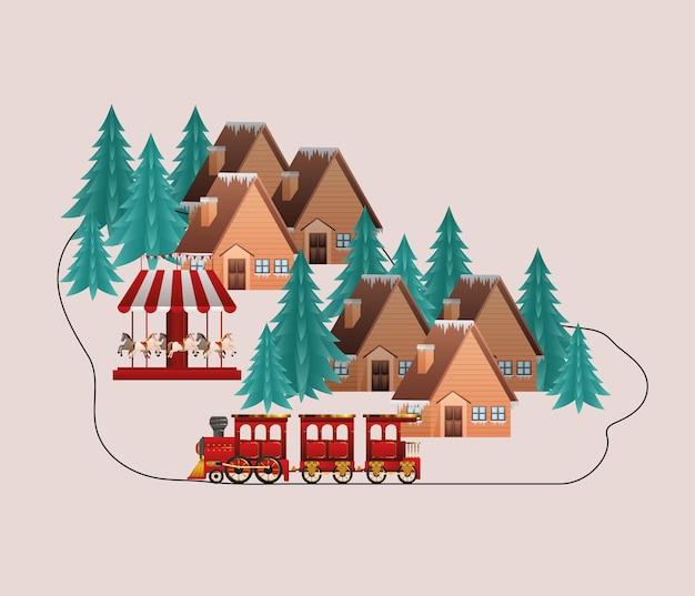 메리 크리스마스 하우스 기차 회전 목마 및 소나무 디자인, 겨울 시즌 및 장식 테마 프리미엄 벡터