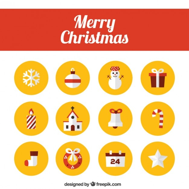 Merry Christmas Icons Collection Vector Free Download
