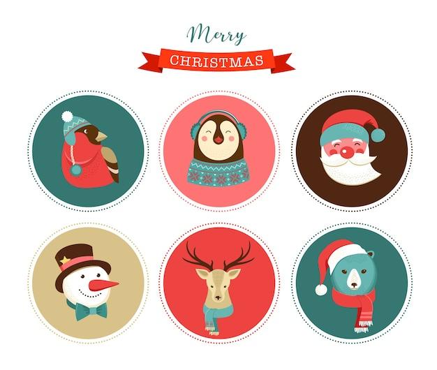 С рождеством христовым иконки, элементы в стиле ретро и теги и этикетки Premium векторы