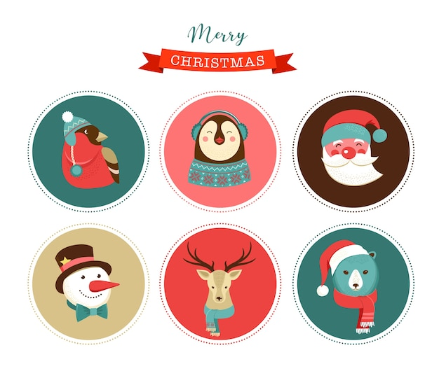 Merry christmas icons, retro style elements and characters, illustrations, tags and labels Premium Vector