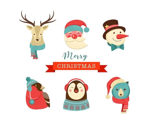Merry christmas icons, retro style elements and characters, tags and labels Premium Vector